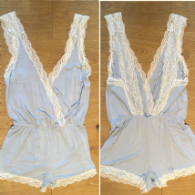 OYSHO SKY BLUE LACE TRIM CROSS OVER TEDDY PLAYSUIT S M L